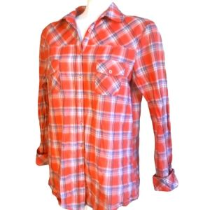 Kensie | long sleeve orange plaid button up cotton